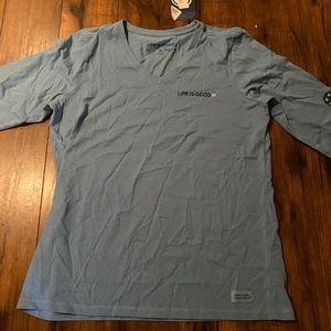 Life is good Flag Heart Crusher T-Shirt  Medium